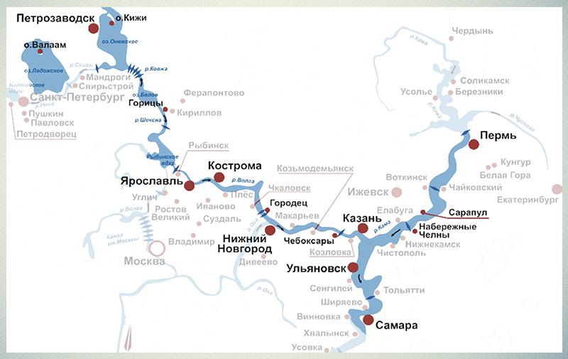Карта речных круизов по России